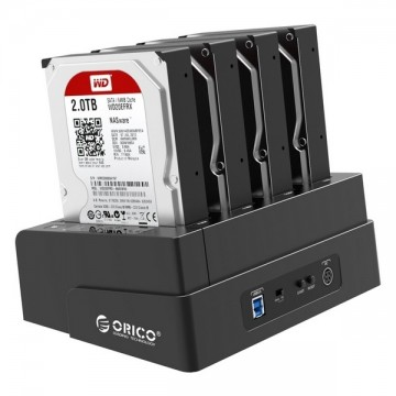 ORICO 6648US3-C 2.5 & 3.5 inch SATA2.0 USB3.0 1 to 3 Clone External Hard Drive Dock - Black