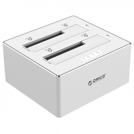 ORICO 6828US3-C Aluminum 2.5 & 3.5 inch USB3.0 with 1 to 1 Clone External Hard Drive Dock - Silver